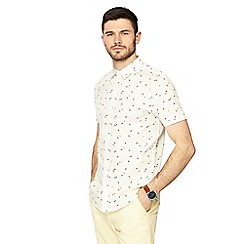 Red Herring - Big and tall off white surf print short sleeve slim fit shirt