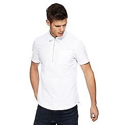Red Herring - White half zip short sleeve Oxford shirt