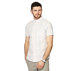 Red Herring - Pale pink checked button down collar short sleeve slim fit shirt