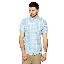 Red Herring - Big and tall pale blue checked button down collar short sleeve slim fit shirt