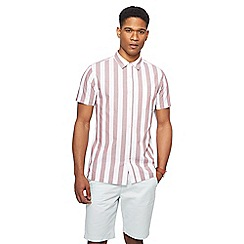 Red Herring - Pink deckchair stripe short sleeve shirt