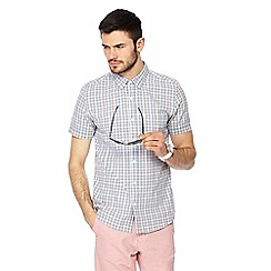 Red Herring - Big and tall blue and peach checked button down collar short sleeve slim fit shirt