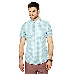 Red Herring - Big and tall blue checked button down collar short sleeve slim fit shirt