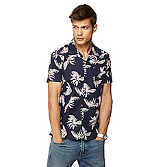Red Herring - Navy tropical floral print short sleeve slim fit shirt
