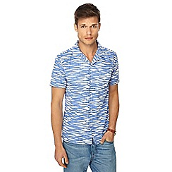 Red Herring - Big and tall blue reverse wave print short sleeve slim fit shirt