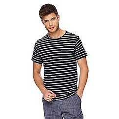Red Herring - Big and tall navy textured striped slim fit t-shirt