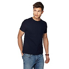 Red Herring - Big and tall navy textured slim fit t-shirt