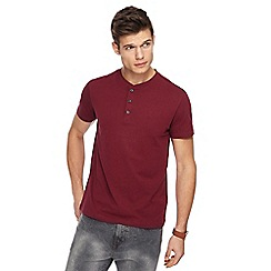 Red Herring - Big and tall red slim fit grandad neck top