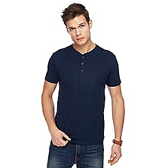 Red Herring - Navy slim fit grandad neck top