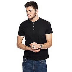 Red Herring - Big and tall black slim fit grandad neck top