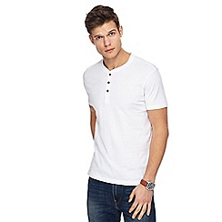 Red Herring - Big and tall white slim fit grandad neck top