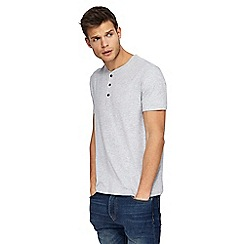 Red Herring - Big and tall grey notch neck slim fit t-shirt