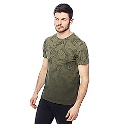 Red Herring - Khaki palm leaf print slim fit t-shirt