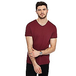 Red Herring - Big and tall dark red v-neck slim fit t-shirt