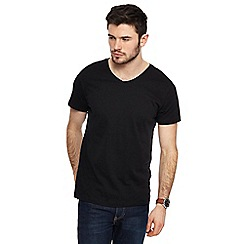 Red Herring - Big and tall black v-neck slim fit t-shirt