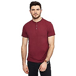 Red Herring - Big and tall dark red muscle fit grandad neck top