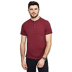 Red Herring - Dark red muscle fit grandad neck top
