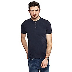 Red Herring - Big and tall navy muscle fit grandad neck top