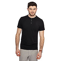 Red Herring - Black muscle fit grandad neck top