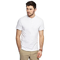 Red Herring - White muscle fit grandad neck top