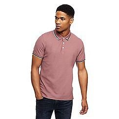 Red Herring - Big and tall pink tipped slim fit polo shirt