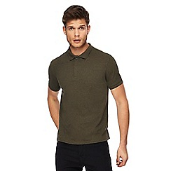 Red Herring - Big and tall khaki textured slim fit polo shirt