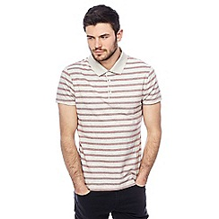 Red Herring - Big and tall off white striped slim fit polo shirt