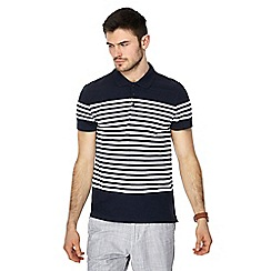 Red Herring - Big and tall navy striped slim fit polo shirt