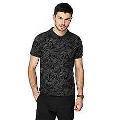 Red Herring - Big and tall black palm leaf print polo shirt