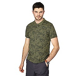 Red Herring - Khaki palm leaf print polo shirt