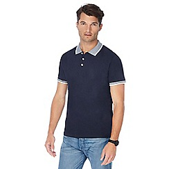 Red Herring - Big and tall navy textured collar slim fit polo shirt