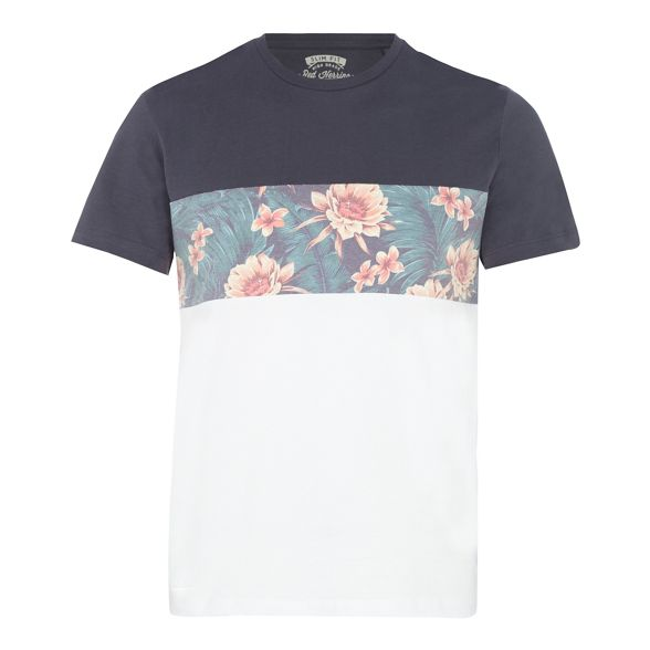 fit Herring slim shirt print Red t panel Grey floral yXqAwycdY6