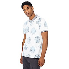 Red Herring - Big and tall white floral print slim fit polo shirt