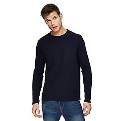 Red Herring - Big and tall navy textured slim fit long sleeve top