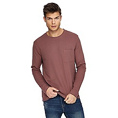 Red Herring - Big and tall pink textured slim fit long sleeve top