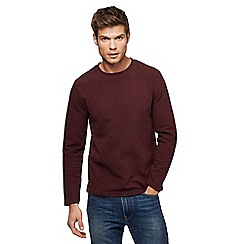 Red Herring - Big and tall dark red ribbed slim fit sweatshirt