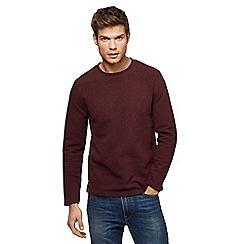 Red Herring - Dark red ribbed slim fit sweatshirt
