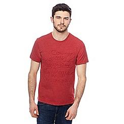 Red Herring - Red 'San Fran' embossed slogan t-shirt
