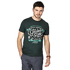 099010246035: Dark green Golden State print t-shirt