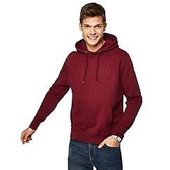 Red Herring - Dark red embossed print hooded sweatshirt