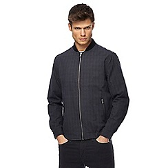 Red Herring - Big and tall navy checked bomber jacket