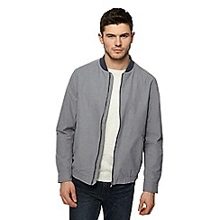 Red Herring - Big and tall grey textured bomber jacket