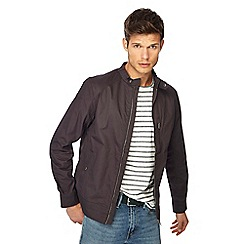 Red Herring - Big and tall dark grey regular fit biker jacket