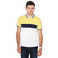 Red Herring - Big and tall white and yellow slim fit polo shirt
