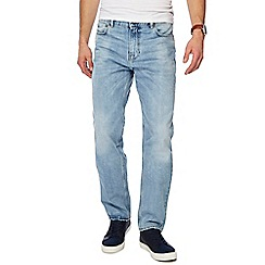 Red Herring - Big and tall light blue bleach wash straight leg jeans