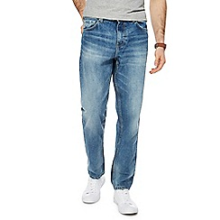 Red Herring - Big and tall blue light wash tapered straight fit jeans