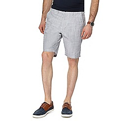 Red Herring - Big and tall grey cross-hatch textured chino shorts
