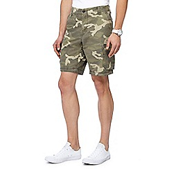 Red Herring - Big and tall khaki camo print cargo shorts