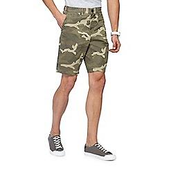 Red Herring - Khaki camo print chino shorts