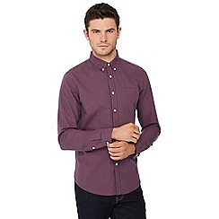 Red Herring - Dark pink mini gingham print long sleeve slim fit shirt